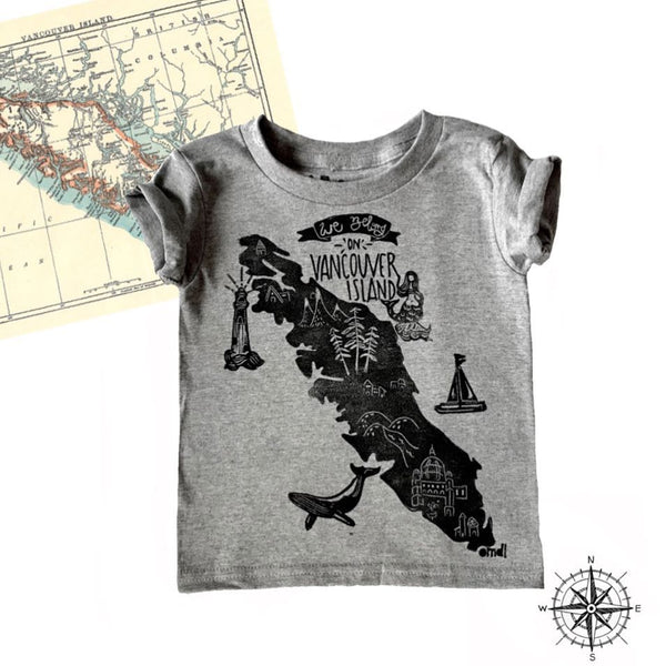 OMDL Coastal Bamboo Tee - We Belong on Vancouver Island Heather Grey-OMDL-WBOVI/GY 2-Pumpkin Pie Kids Canada