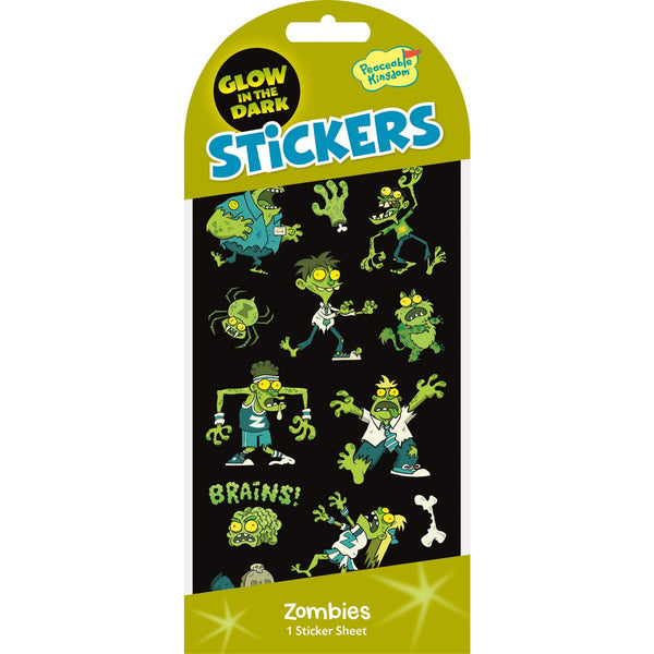 Peaceable Kingdom Stickers - Zombies Glow in the Dark-STK204-Pumpkin Pie Kids Canada