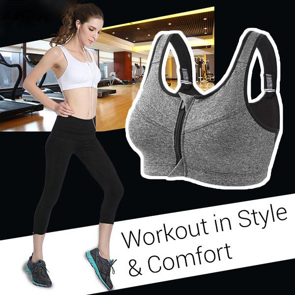 Adjustable Seamless Zipper Sport Bra