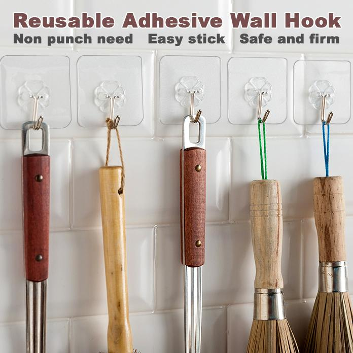 Reusable Adhesive Wall Hook (10 Pcs)