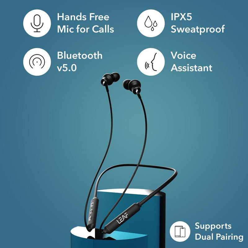 Leaf Flex Wireless Bluetooth NeckBand Earphones With Mic