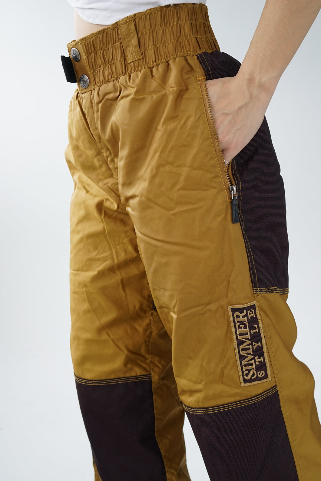 Vintage golden snow pants with patches unisex size S-M