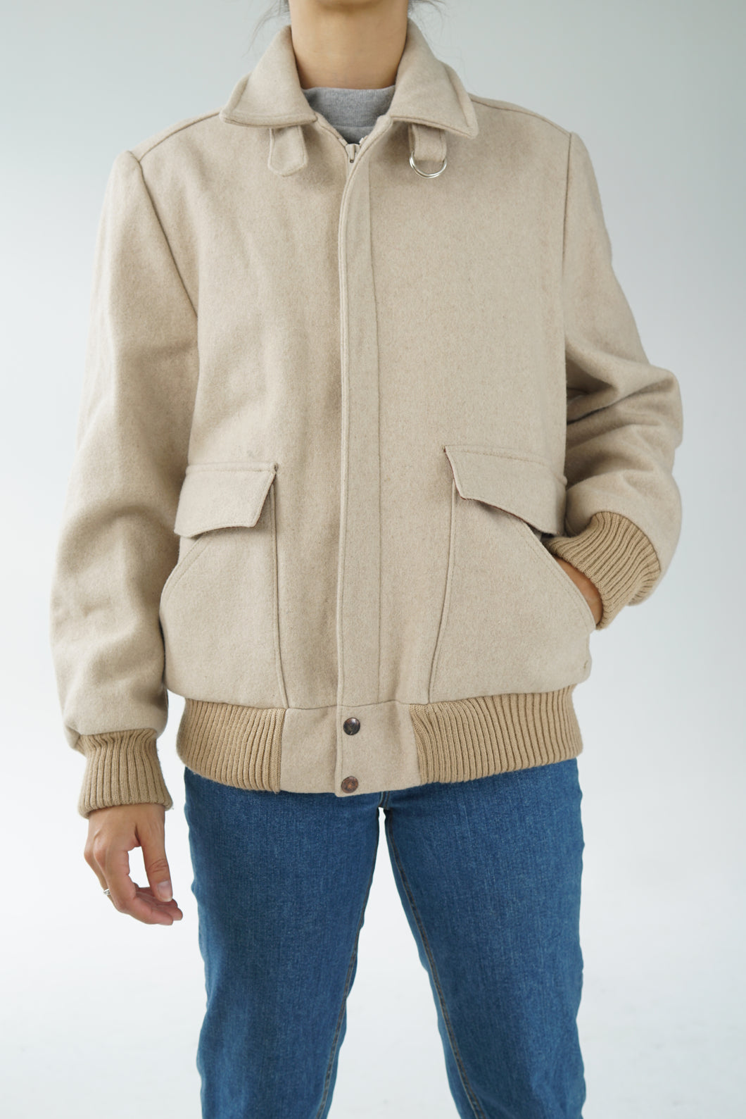 Vintage wool bomber made in Canada size medium