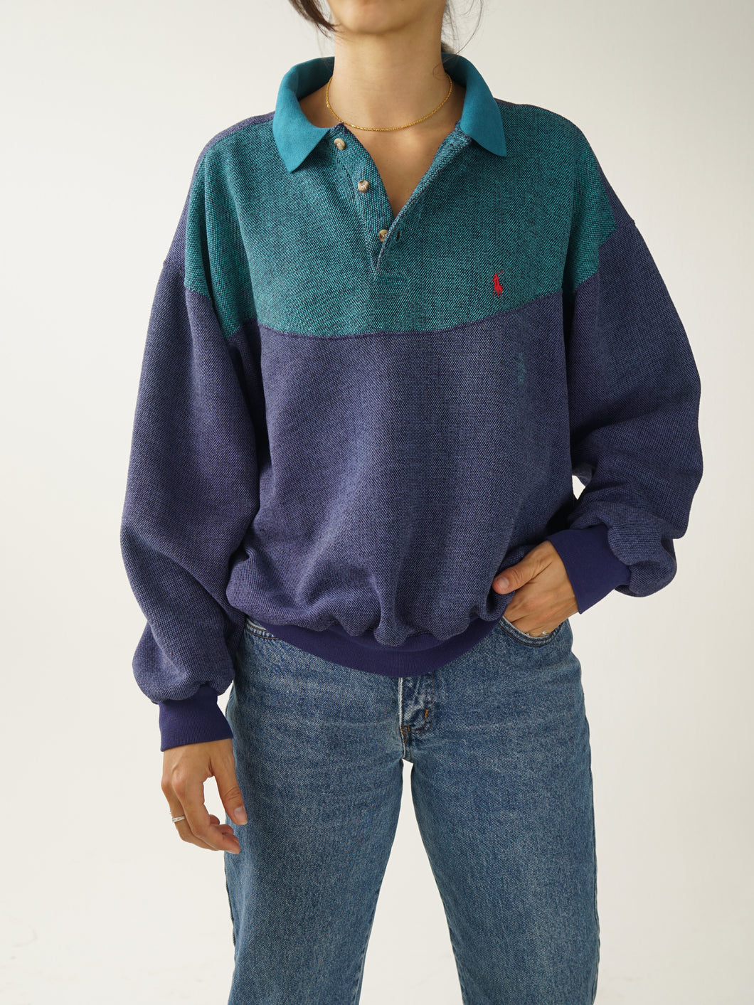 Polo by Ralph Lauren bleu et turquoie long sleeve