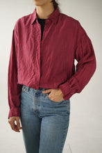 Load image into Gallery viewer, Wine red silk shirt size M