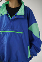 Load image into Gallery viewer, 80s neon blue and green wind breaker
