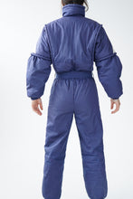 Load image into Gallery viewer, Vintage one piece Lupa ski suit, dark blue with white zip snow suit unisex size 12