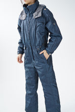 Load image into Gallery viewer, One piece Nils ski suit, metallic dark blue quality snow suit size 14