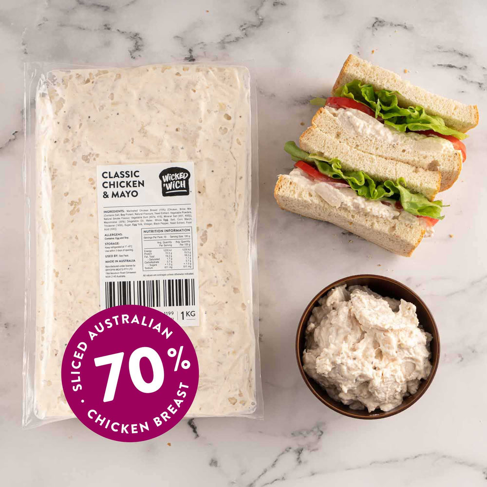 "Load image into Gallery viewer, Classic Chicken & Mayo <p class=""product-type"">Sandwich Filling </p><p class=""product-format"">10 x 1kg Pack Carton</p>"