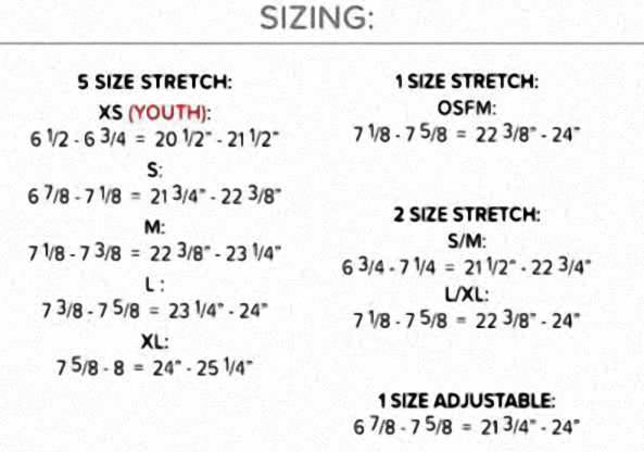 The Game Headwear Sizing Chart