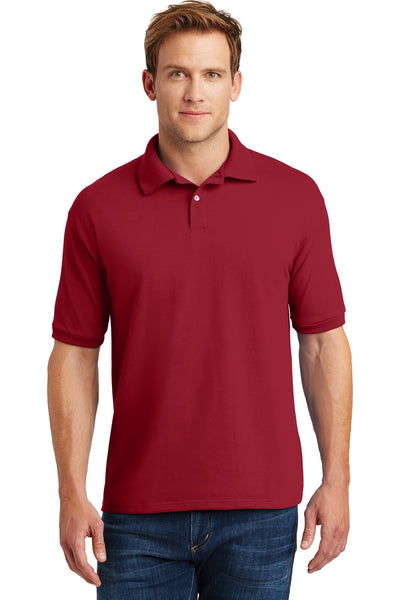 Hanes 054X Ecosmart 5.2-Ounce Jersey Knit Sport Shirt - Deep Red