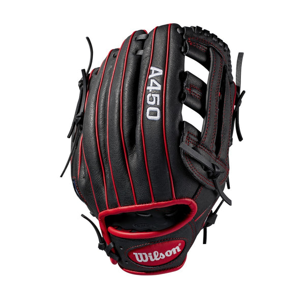 "Wilson A450 11.00"" Youth Utility Gloves WTA04RB1911 - Black Red"