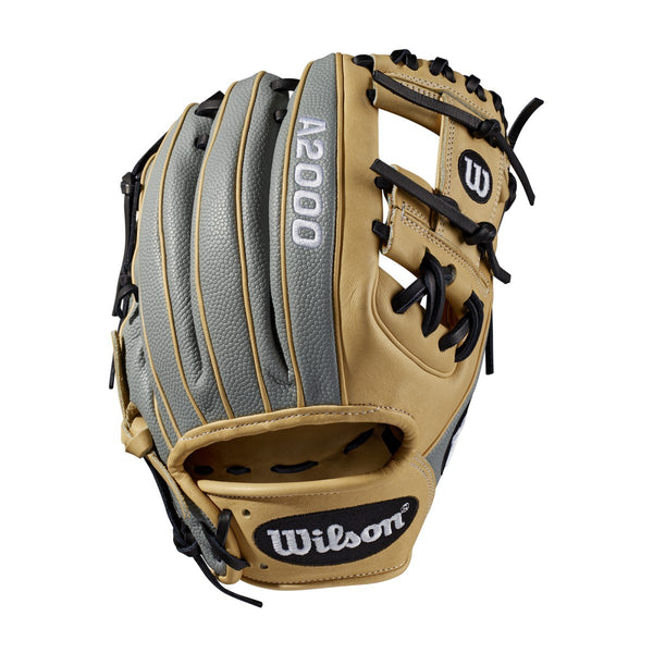 "Wilson 2019 A2000 1788 Superskin 11.25"" Infield Glove WTA20RB191788SS - Blonde Gray - Hit A Double - 1"