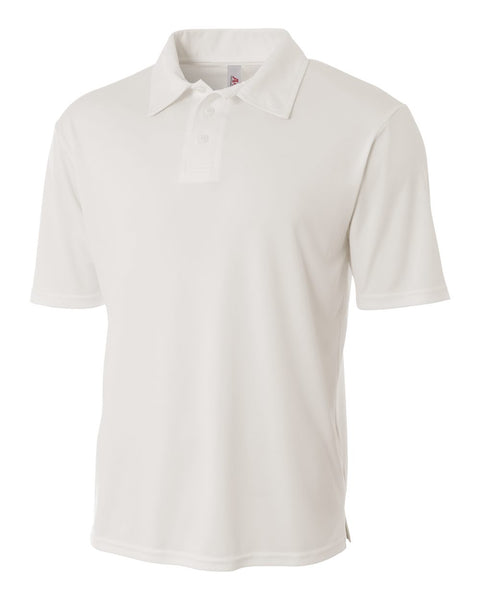 A4 N3261 Solid Interlock Performance Polo - White Ivory