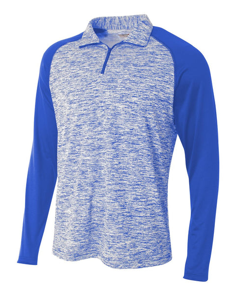A4 N4249 1/4 Zip Long Sleeve Space Dye w/ Contrast - Royal