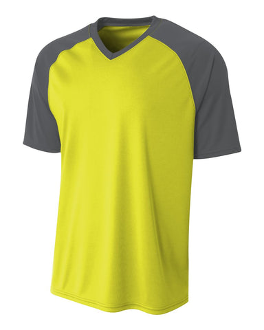 A4 N3373 Strike Jersey - Safety Yellow Graphite - HIT A Double
