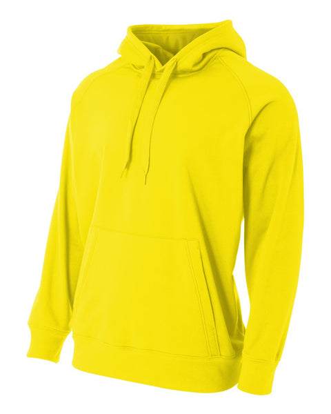 A4 N4237 Solid Tech Fleece Hoodie - Safety Yellow