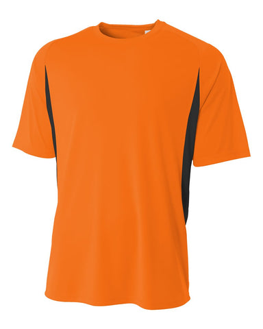 A4 NB3181 Youth Cooling Performance Color Block Short Sleeve Crew - Safety Orange Black