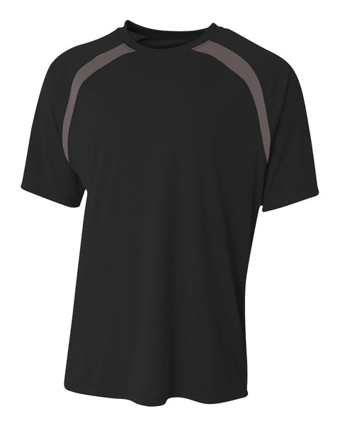 A4 N3001 Spartan Short Sleeve Color Block Crew - Black Graphite