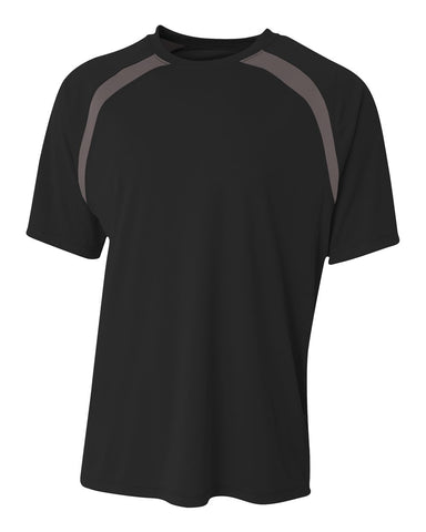 A4 N3001 Spartan Short Sleeve Color Block Crew - Black Graphite - HIT A Double