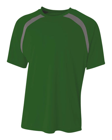 A4 N3001 Spartan Short Sleeve Color Block Crew - Forest Graphite - HIT A Double