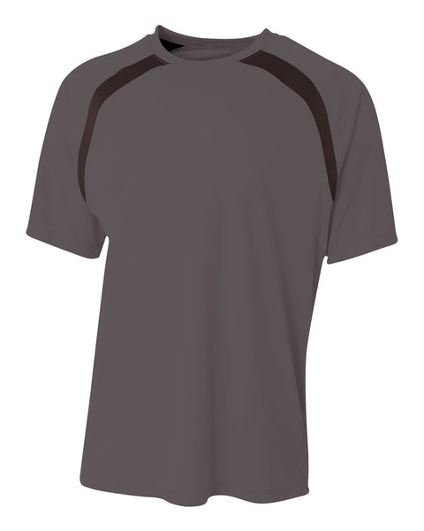 A4 N3001 Spartan Short Sleeve Color Block Crew - Graphite Black - HIT A Double