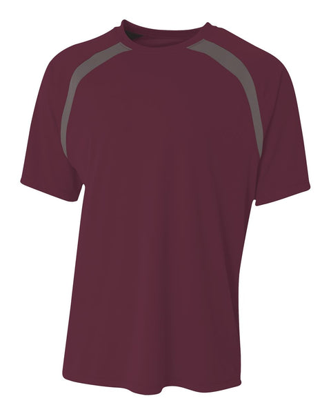 A4 N3001 Spartan Short Sleeve Color Block Crew - Maroon Graphite - HIT A Double