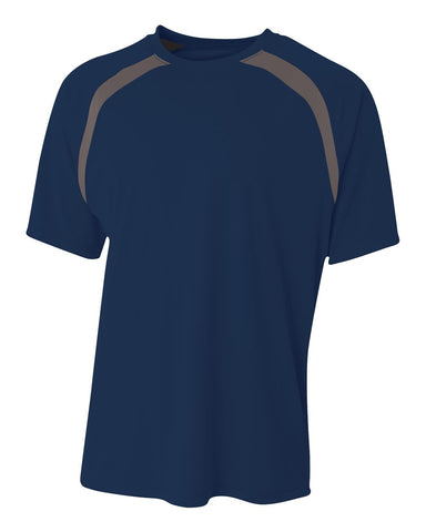 A4 N3001 Spartan Short Sleeve Color Block Crew - Navy Graphite