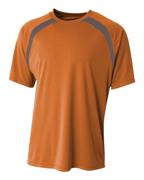 A4 N3001 Spartan Short Sleeve Color Block Crew - Orange Graphite