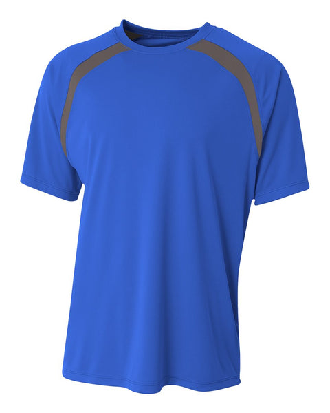 A4 N3001 Spartan Short Sleeve Color Block Crew - Royal Graphite