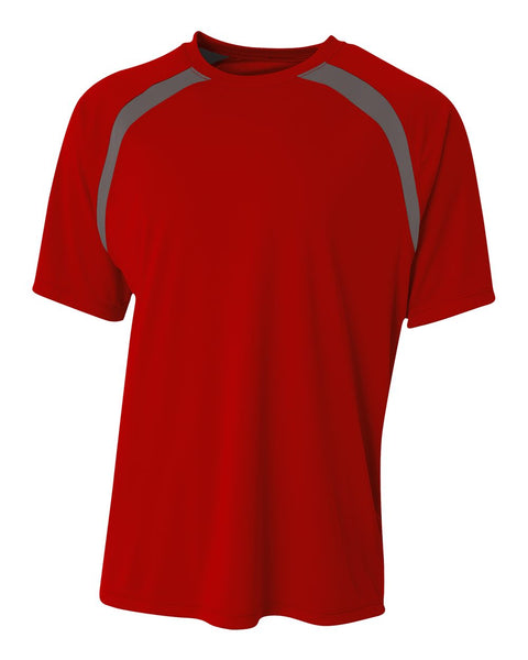 A4 N3001 Spartan Short Sleeve Color Block Crew - Scarlet Graphite