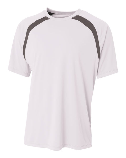 A4 N3001 Spartan Short Sleeve Color Block Crew - White Graphite