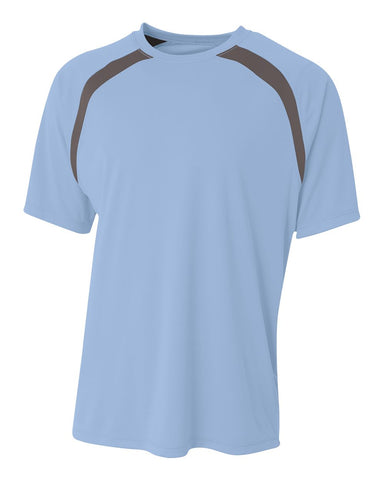 A4 NB3001 Youth Spartan Short Sleeve Color Block Crew - Light Blue Graphite