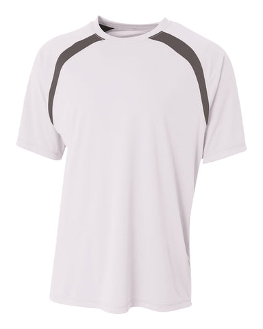A4 NB3001 Youth Spartan Short Sleeve Color Block Crew - White Graphite