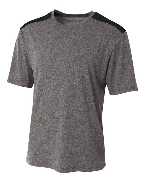 A4 N3100 Tourney Heather Short Sleeve Color Block Crew - Heather Black