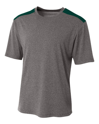 A4 N3100 Tourney Heather Short Sleeve Color Block Crew - Heather Forest