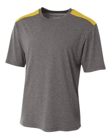 A4 N3100 Tourney Heather Short Sleeve Color Block Crew - Heather Gold