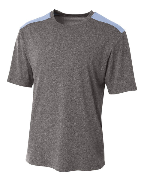 A4 N3100 Tourney Heather Short Sleeve Color Block Crew - Heather Light Blue