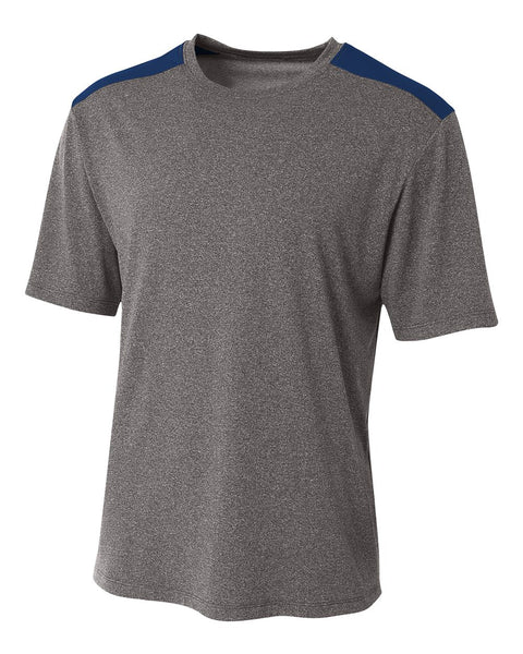 A4 N3100 Tourney Heather Short Sleeve Color Block Crew - Heather Navy