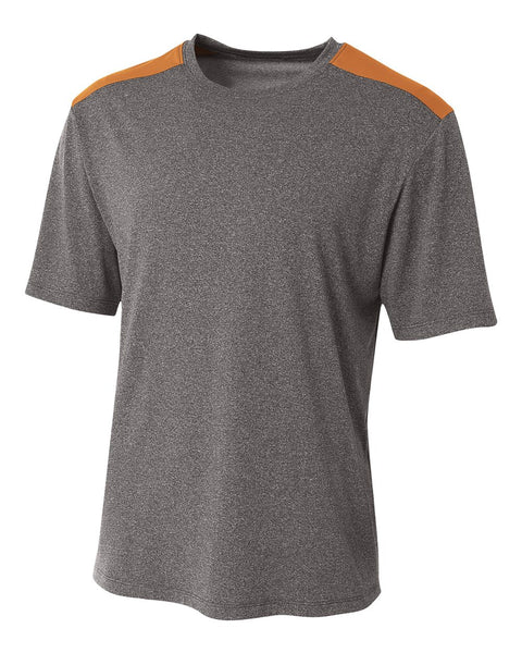 A4 N3100 Tourney Heather Short Sleeve Color Block Crew - Heather Orange