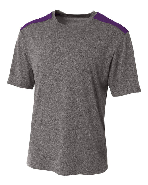 A4 N3100 Tourney Heather Short Sleeve Color Block Crew - Heather Purple