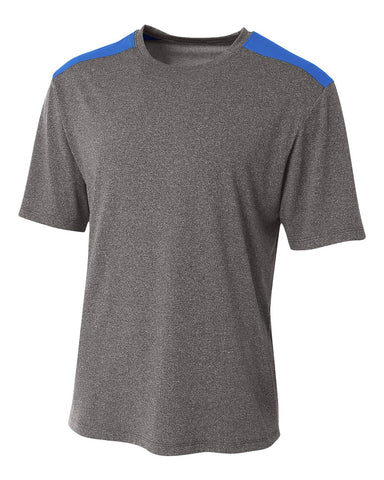 A4 N3100 Tourney Heather Short Sleeve Color Block Crew - Heather Royal