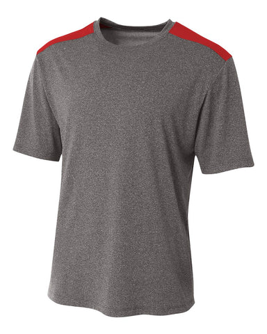 A4 N3100 Tourney Heather Short Sleeve Color Block Crew - Heather Scarlet