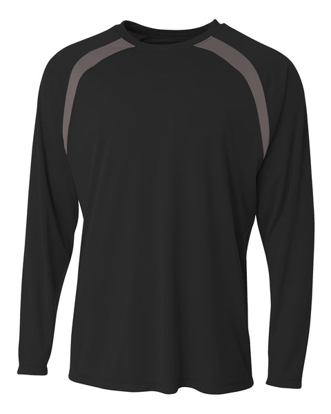A4 N3003 Spartan Long Sleeve Color Block Crew - Black Graphite - HIT A Double