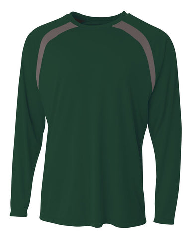A4 N3003 Spartan Long Sleeve Color Block Crew - Forest Graphite