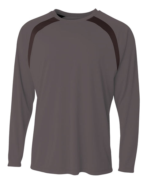 A4 N3003 Spartan Long Sleeve Color Block Crew - Graphite Black