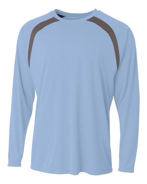A4 N3003 Spartan Long Sleeve Color Block Crew - Light Blue Graphite - HIT A Double