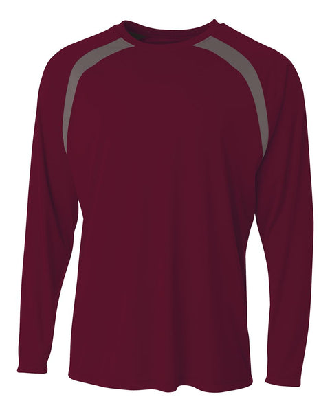 A4 N3003 Spartan Long Sleeve Color Block Crew - Maroon Graphite