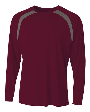 A4 N3003 Spartan Long Sleeve Color Block Crew - Maroon Graphite - HIT A Double