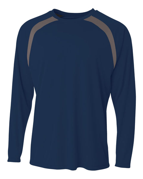 A4 N3003 Spartan Long Sleeve Color Block Crew - Navy Graphite - HIT A Double